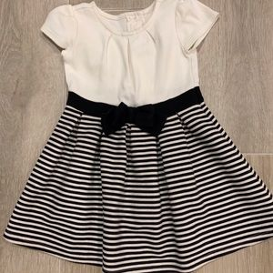 Black and white toddler dress with bow detail